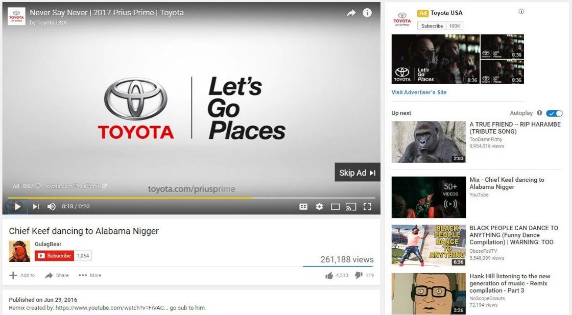 Jeden ze screenshotů WSJ - reklama Toyoty na videu s urážlivým názvem