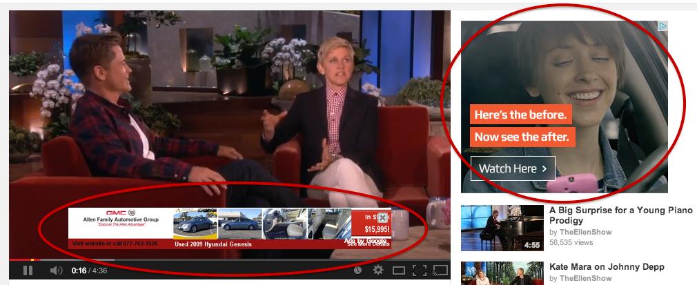 Ukázka reklamy na YouTube