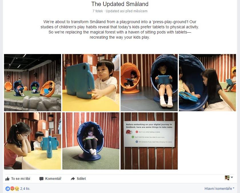 Oznámení na facebookových stránkách singapurské pobočky IKEA