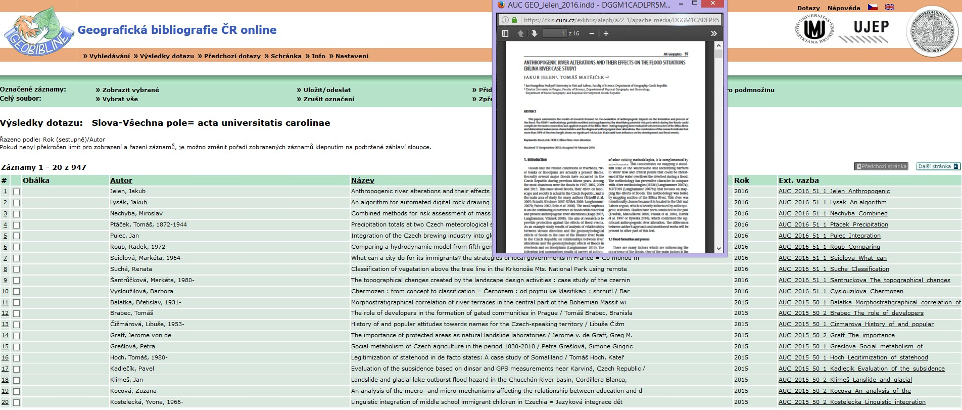 Rešerše v základním vyhledávání GEOBIBLINE - uprostřed zobrazen jeden z připojených plných textů