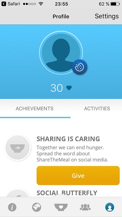 Share The Meal - uživatelský profil