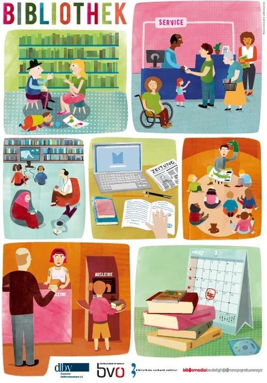 Plakát beze slov vytvořený ve spolupráci knihovnických svazů německy mluvících zemí