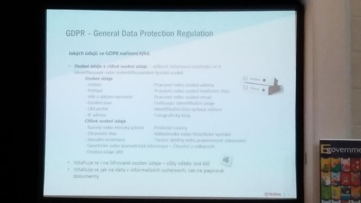 Ukázka z prezentace věnované ochraně osobních údajů