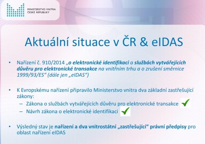 Prezentace o elektronické identifikaci (eIDAS)