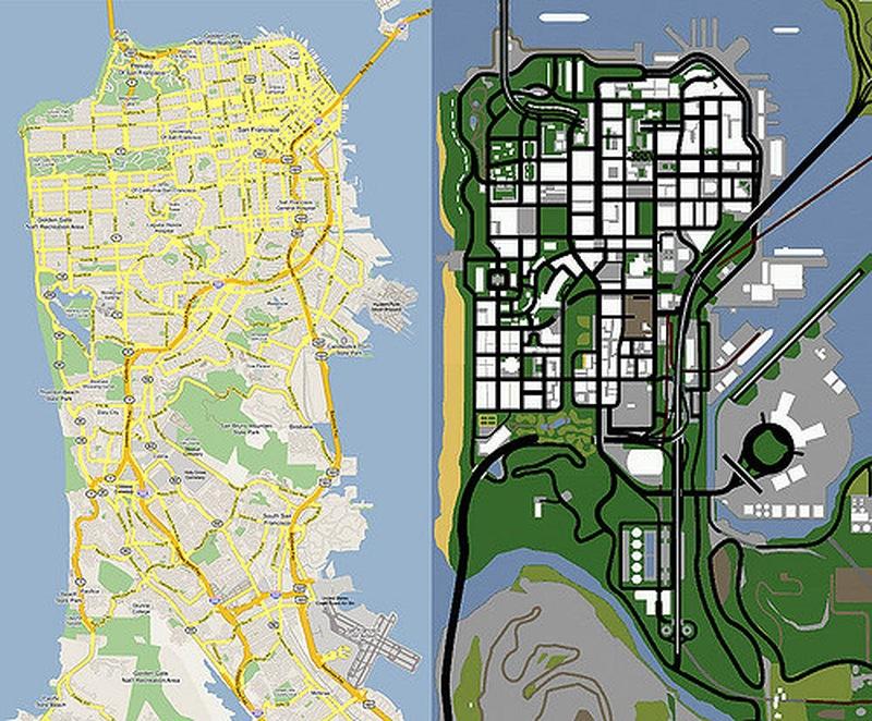 Porovnání mapy San Francisca a fiktivního města San Fierro