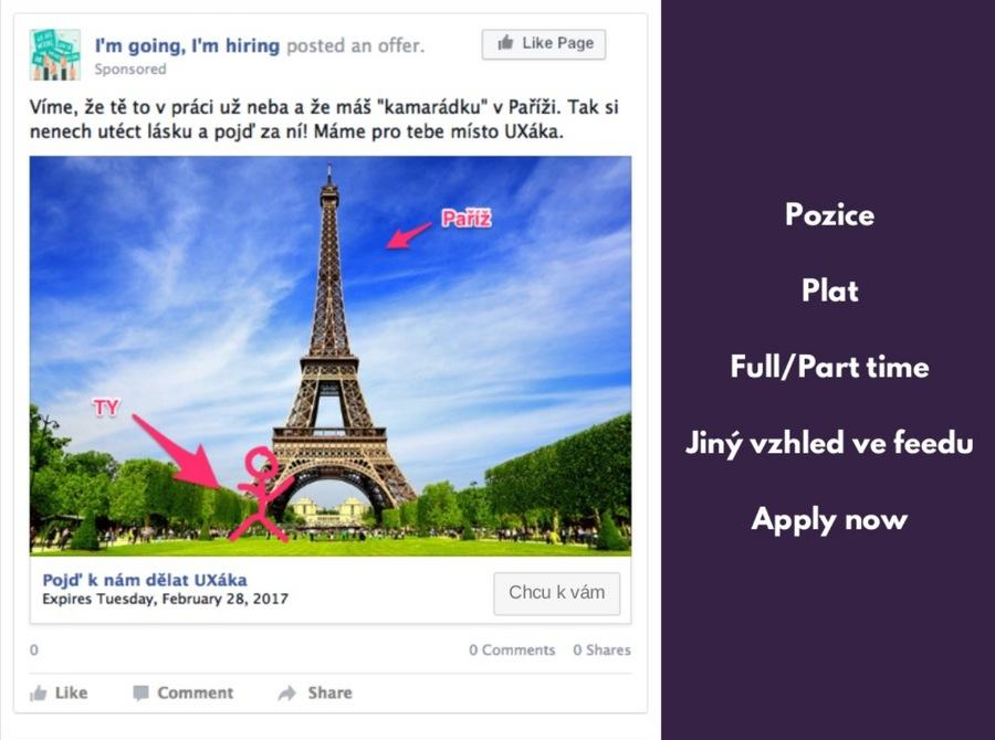 Příklad personalizované pracovní nabídky na Facebooku