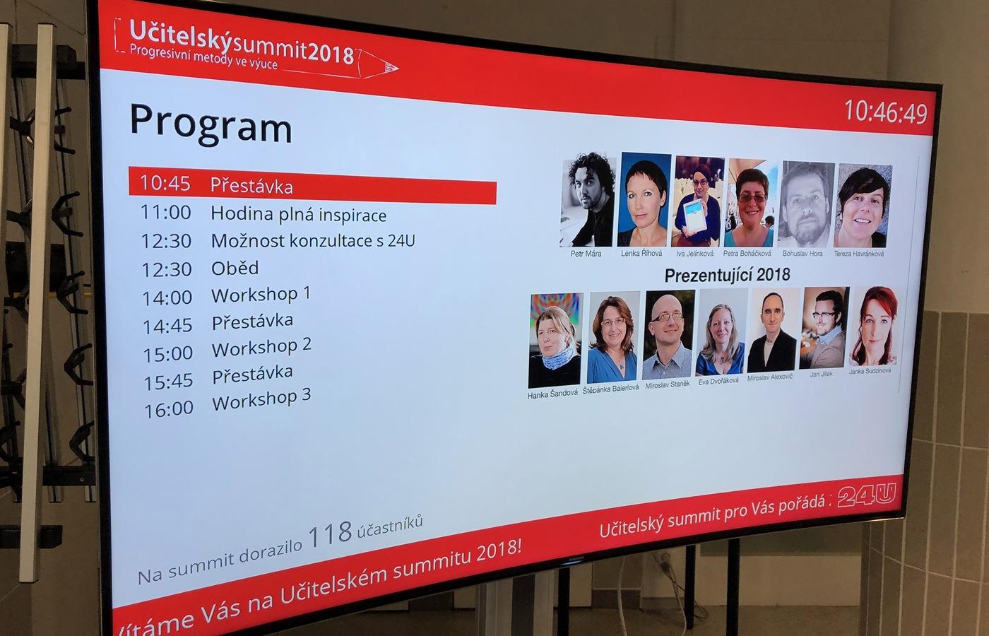Informační obrazovka s programem