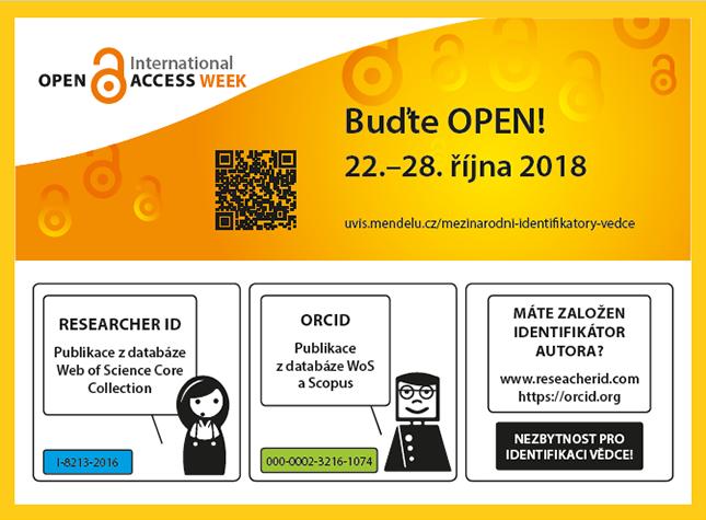 Plakát k Open Access Week 2018 na Mendelově univerzitě v Brně