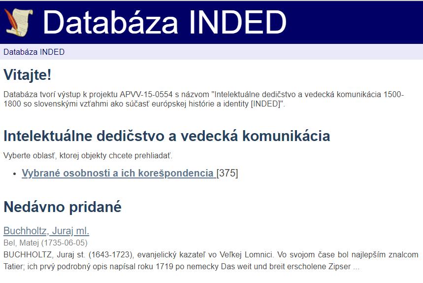 Rozhranie databázy INDED