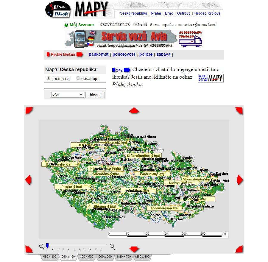 Mapy.cz z roku 1999