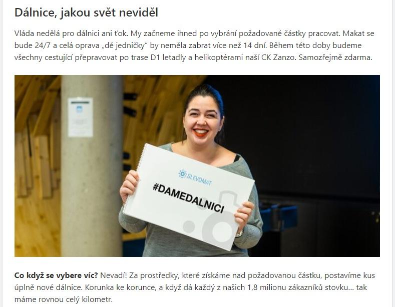 Kampaň Dáme dálnici serveru Slevomat.cz