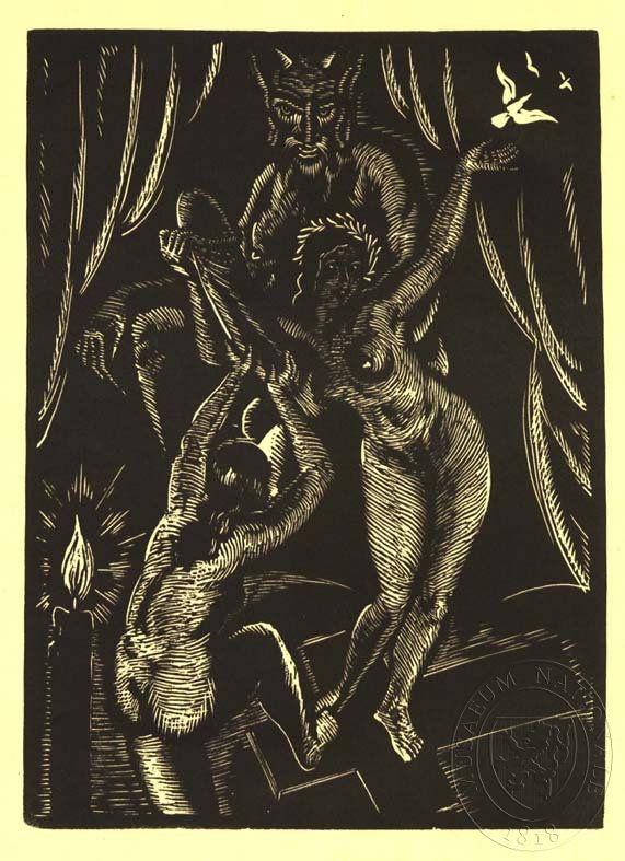 Dvě nahé ženy a ďábel. Dřevoryt Josefa Hodka pro Žikešův nakladatelský prospekt ke knize Černá mše